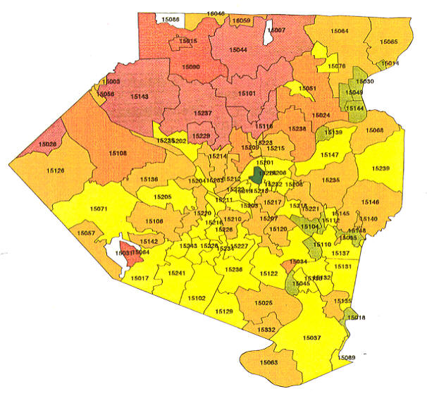 Allegheny County Zip Code Map Pennsylvania Radon Map, Bucks county radon, Northampton county