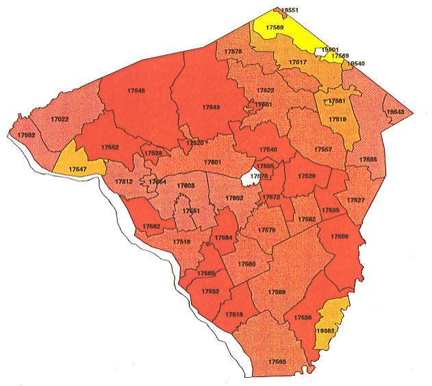 Lehigh Valley Zip Code Map.Pennsylvania Radon Map Bucks County Radon Northampton County Radon