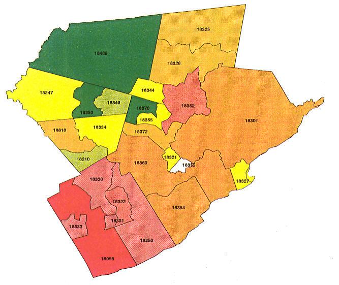 Pennsylvania Radon Map, Bucks county radon, Northampton county radon on zip codes and counties, zip code mapping data, zip codes for warren oh,