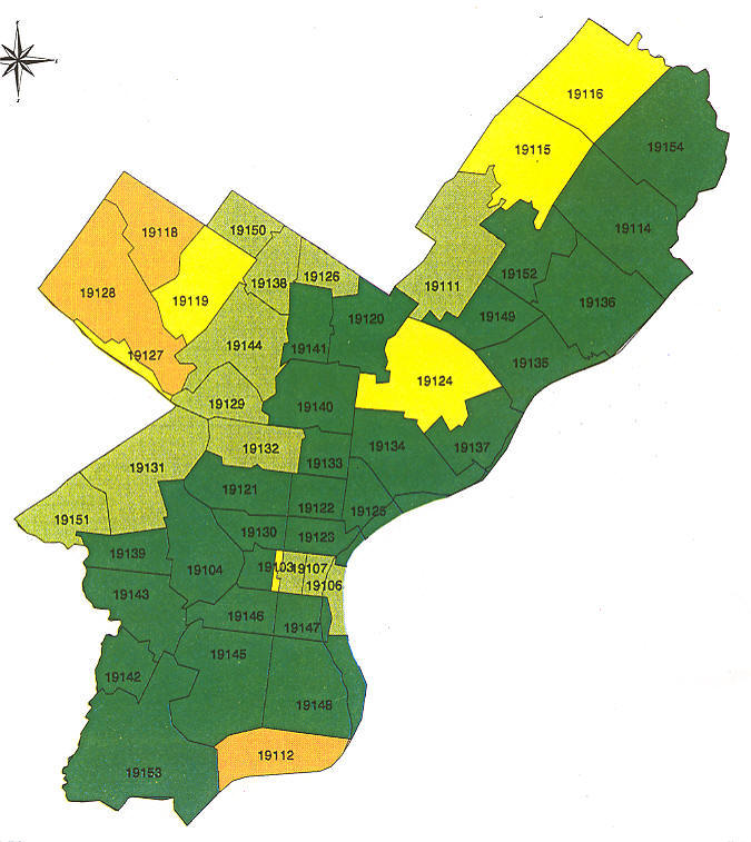 Philadelphia Township Map Pennsylvania Radon Map, Bucks county radon, Northampton county